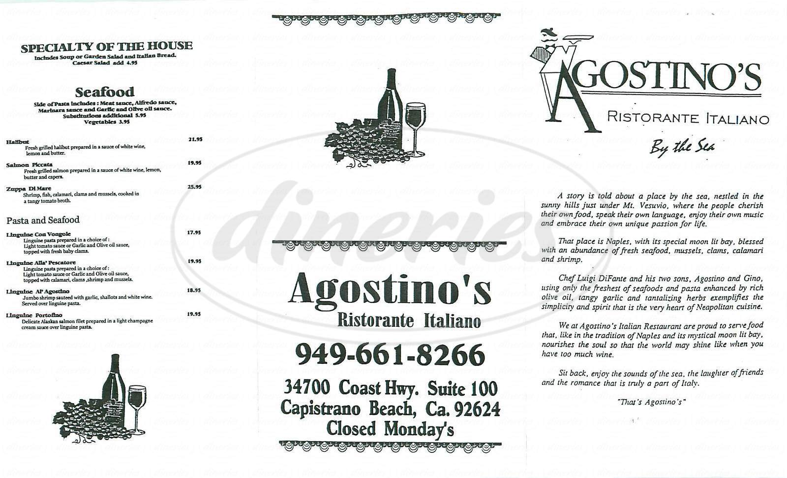 menu for Agostino Ristorante & Bar