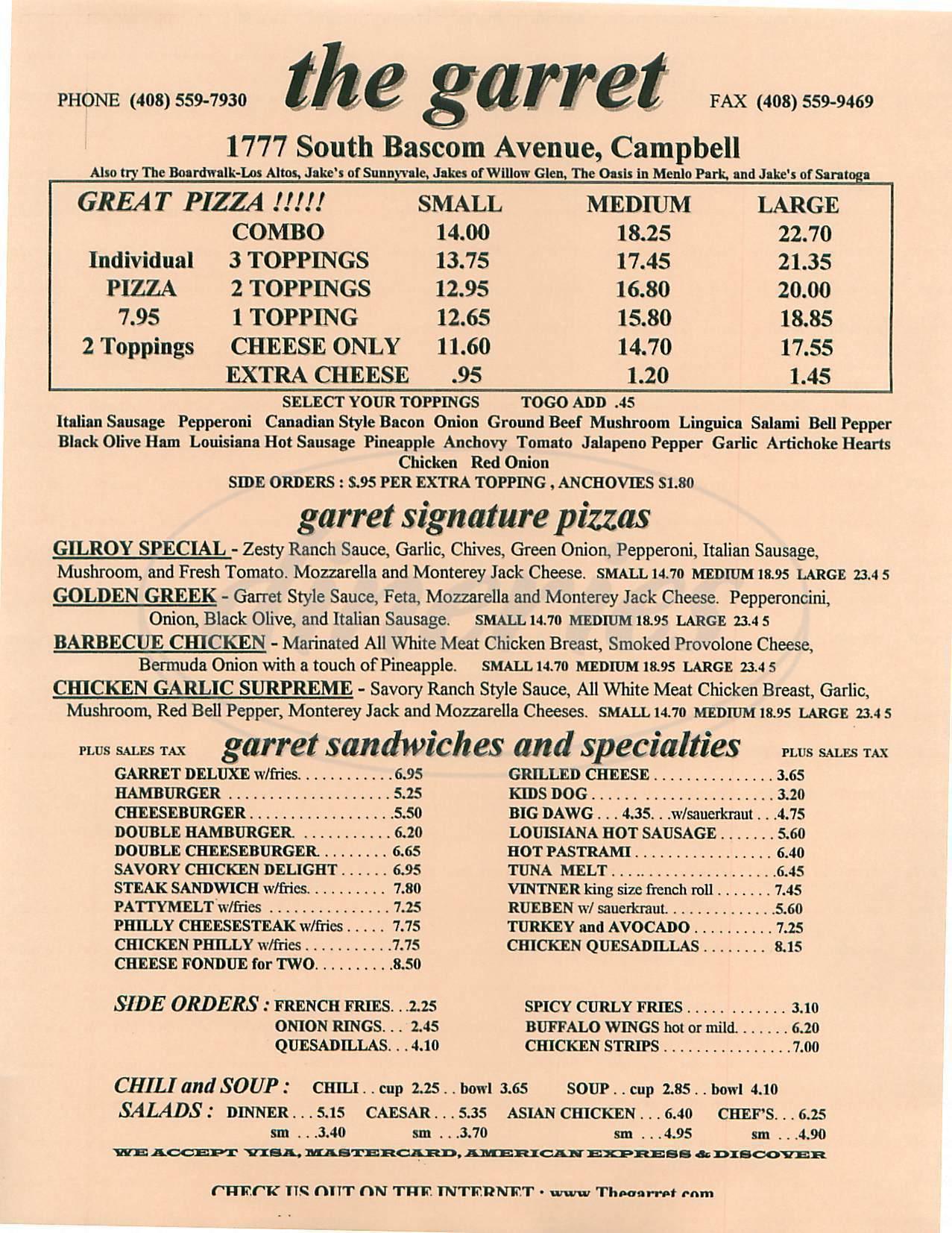 menu for The Garret