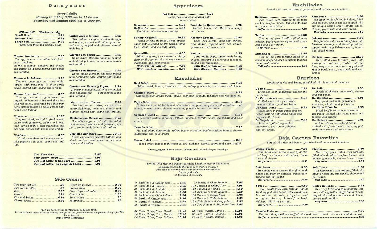 menu for Baja Cactus Restaurant