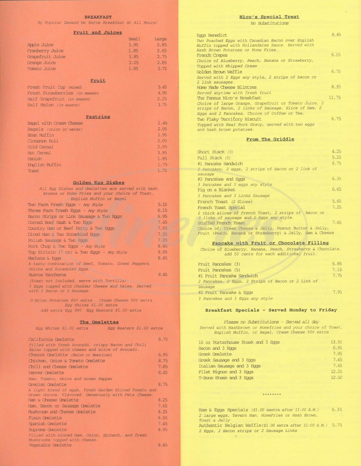 menu for Nicos Family Restaurant
