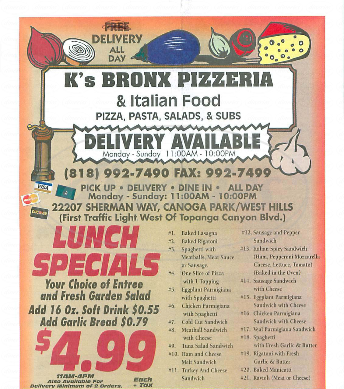 menu for K's Bronx Pizzeria & Italian Foods