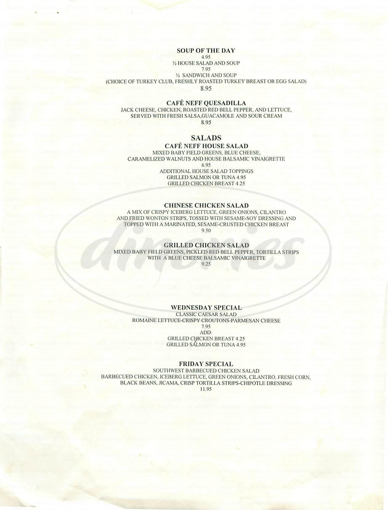 menu for Café Neff