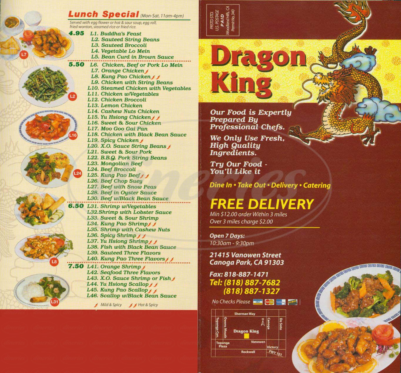 menu for Dragon King