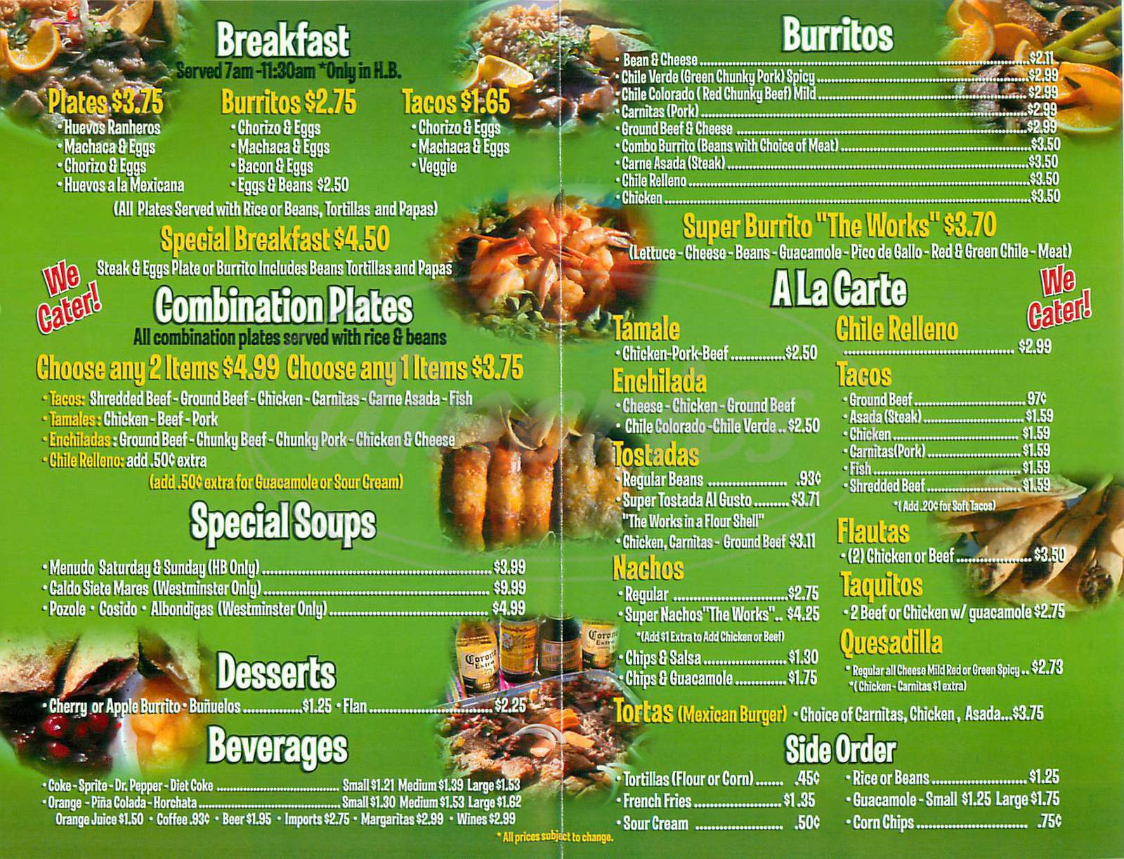 menu for Georges Mexican Food