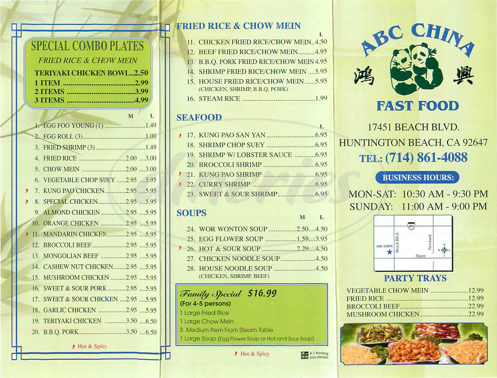 menu for ABC Chinese Food
