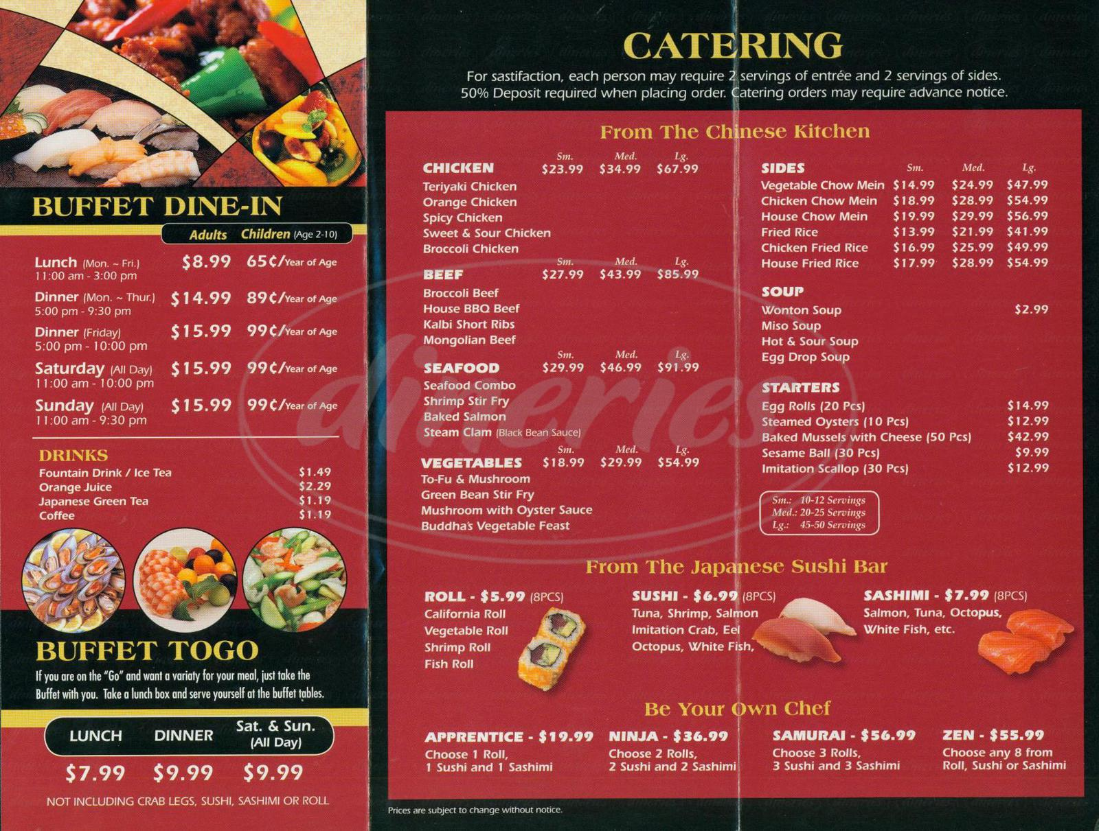 menu for Zen Buffet