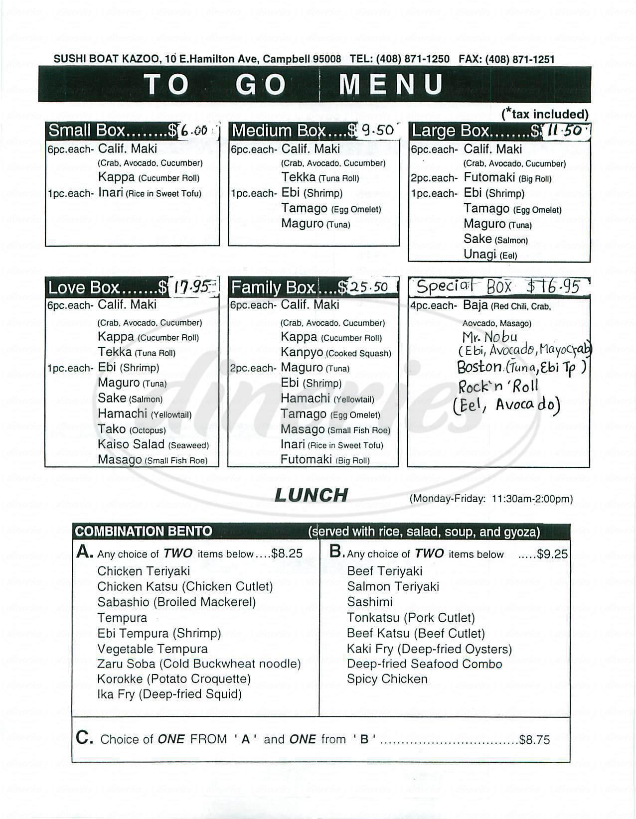 menu for Sushi Boat Kazoo