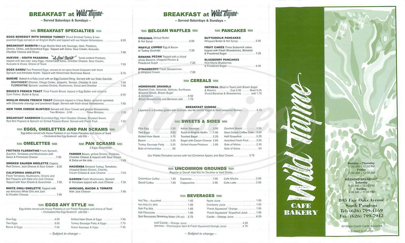 menu for Wild Thyme