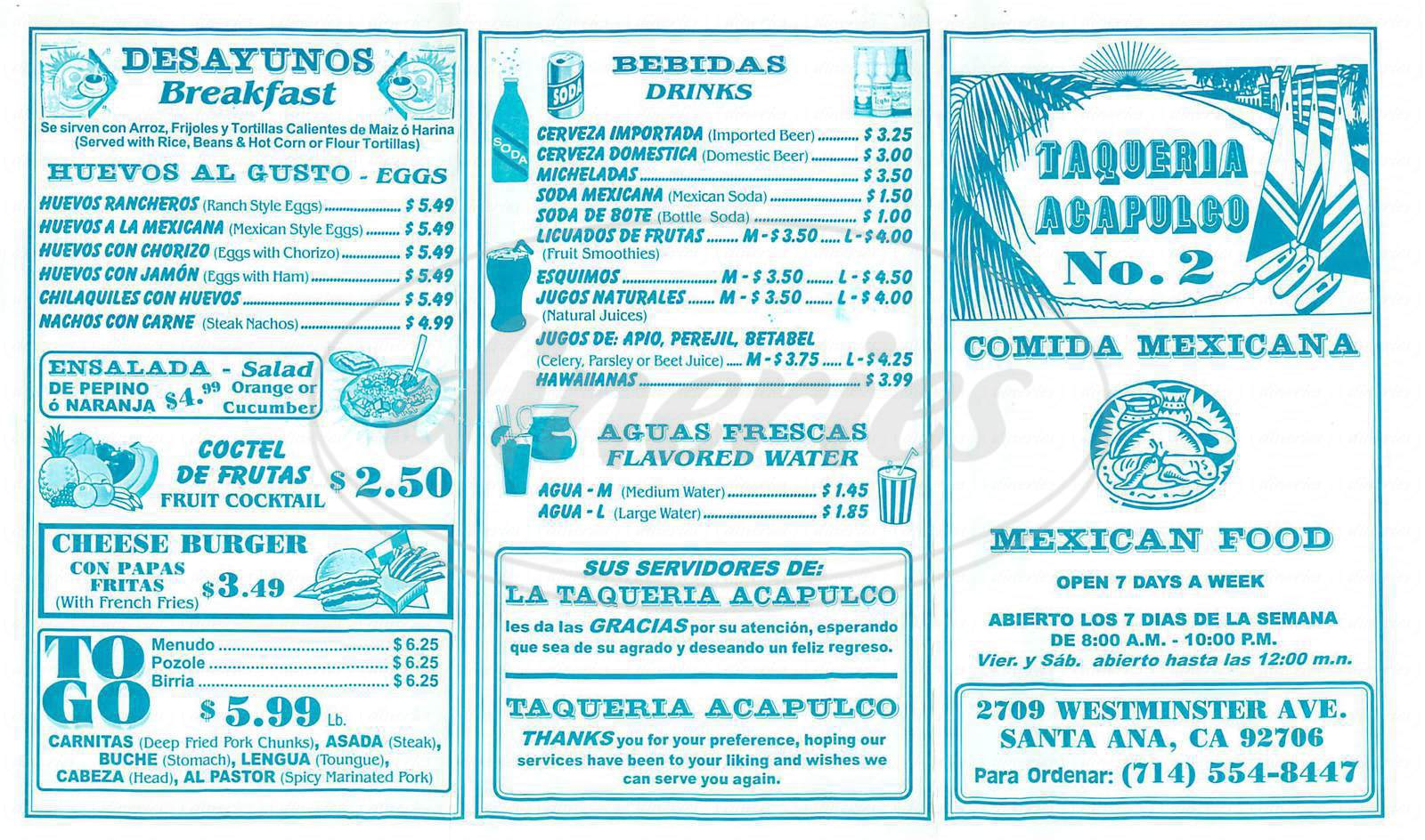 menu for Taqueria Acapulco