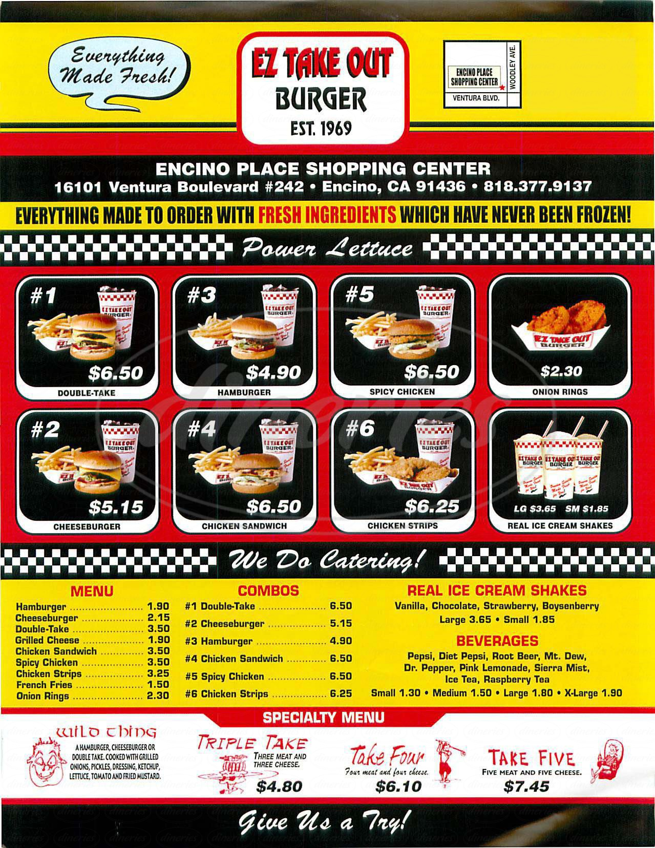 menu for EZ Take Out Burger