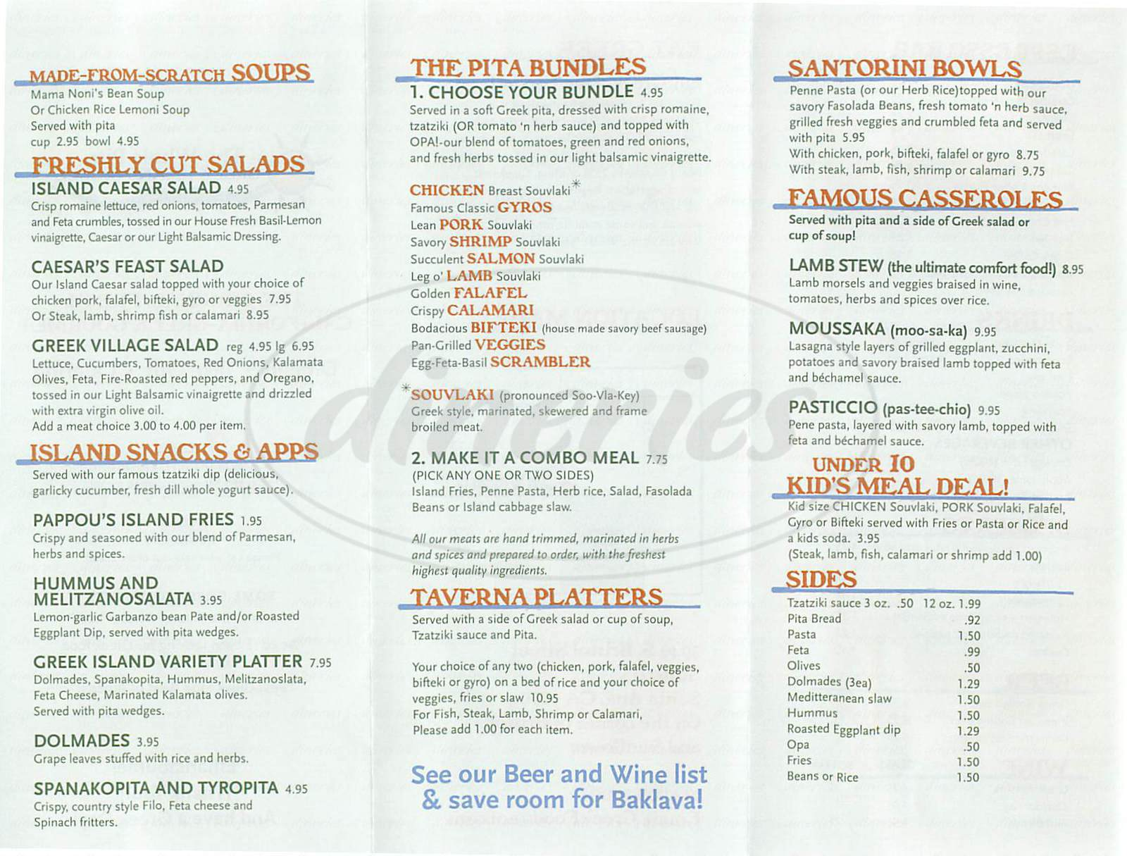 menu for The Whole Pita Greek Island Grille
