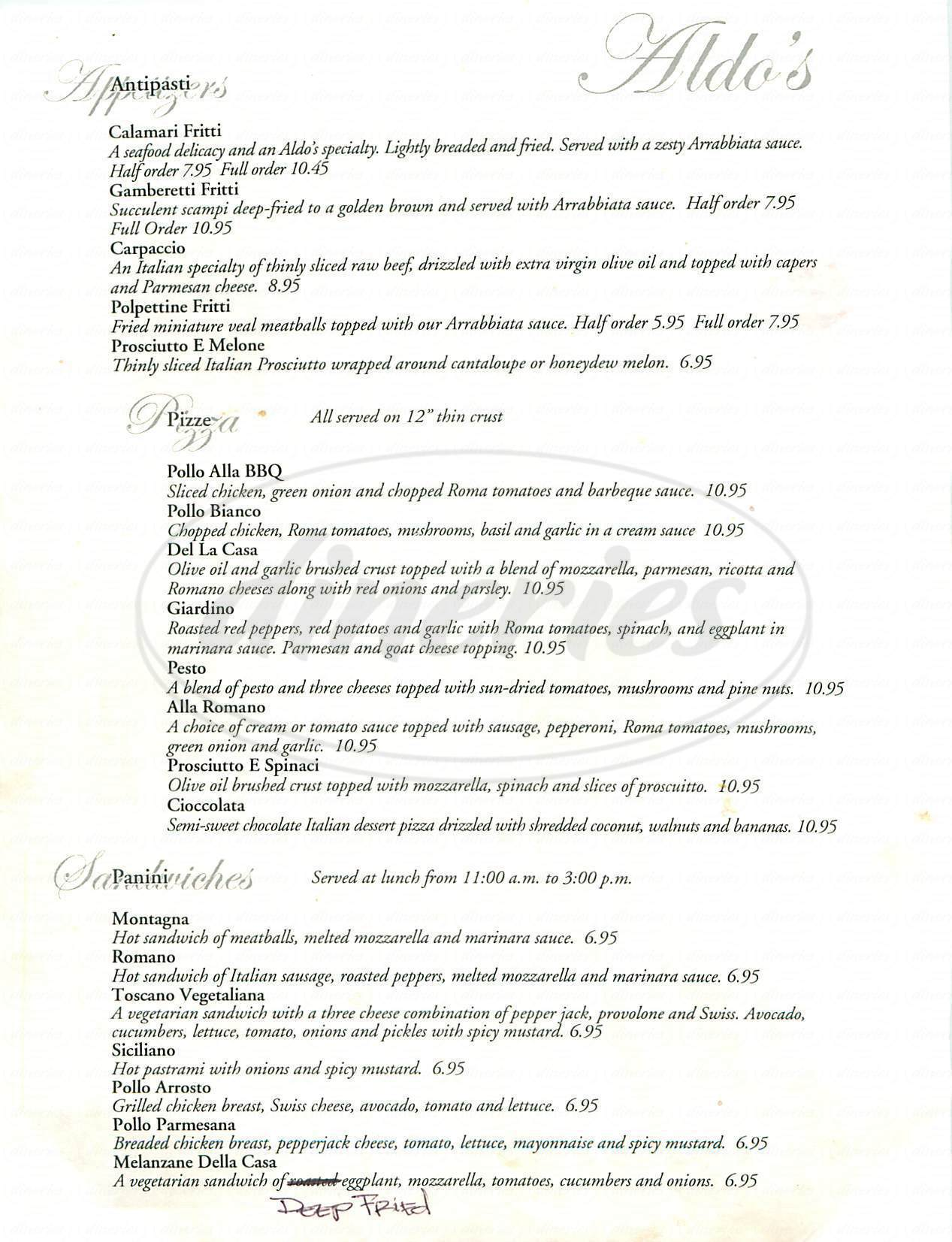 menu for Aldos Italian Restaurant