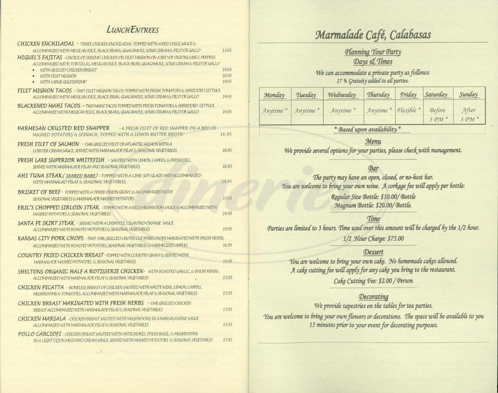 Marmalade Cafe Menu Calabasas