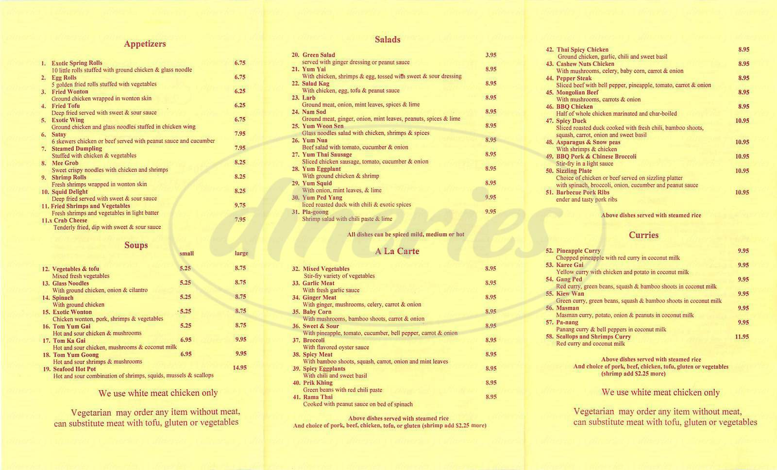 menu for Exotic Thai Café