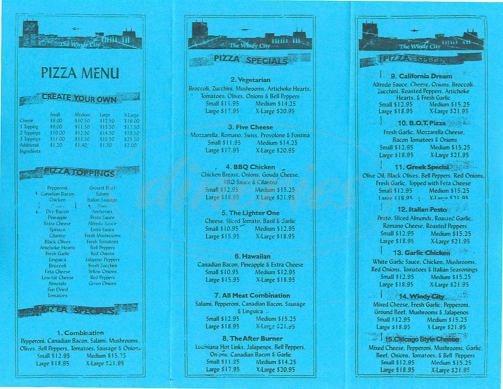 menu for Chicago Style Pizza