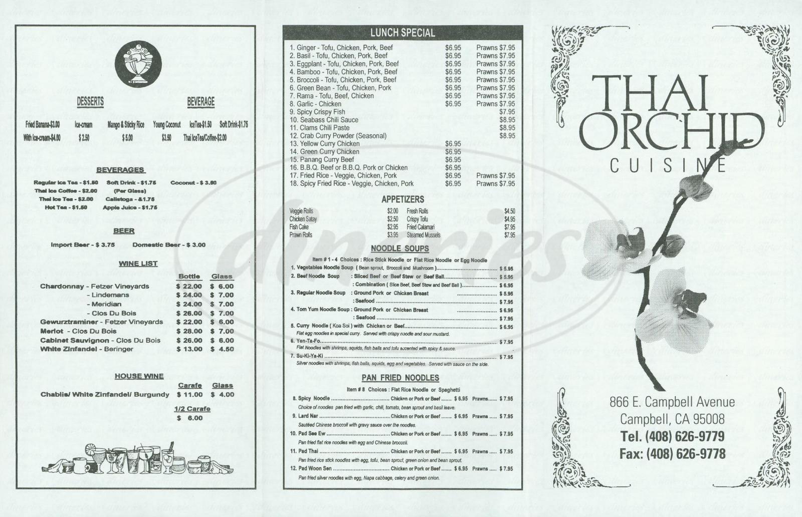 menu for Thai Orchid Cuisine