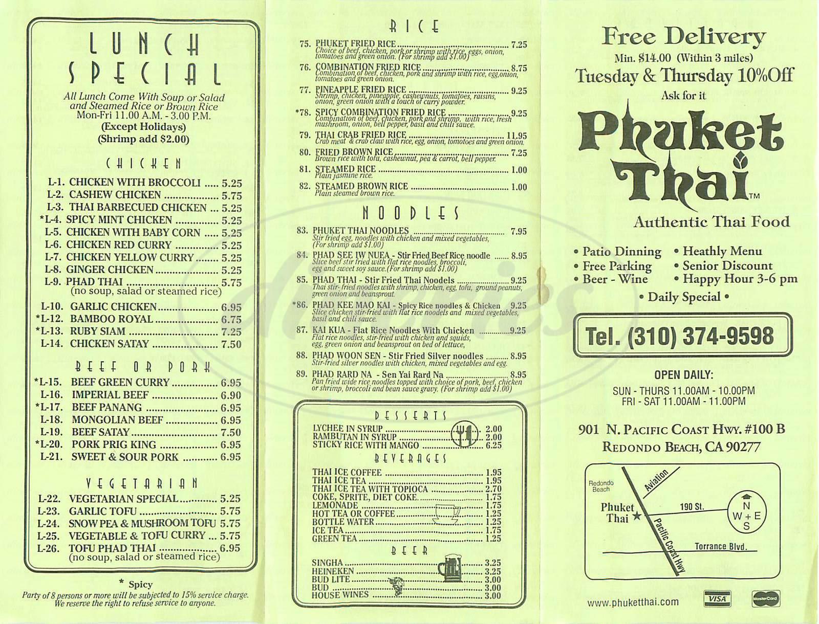 menu for Phuket Thai