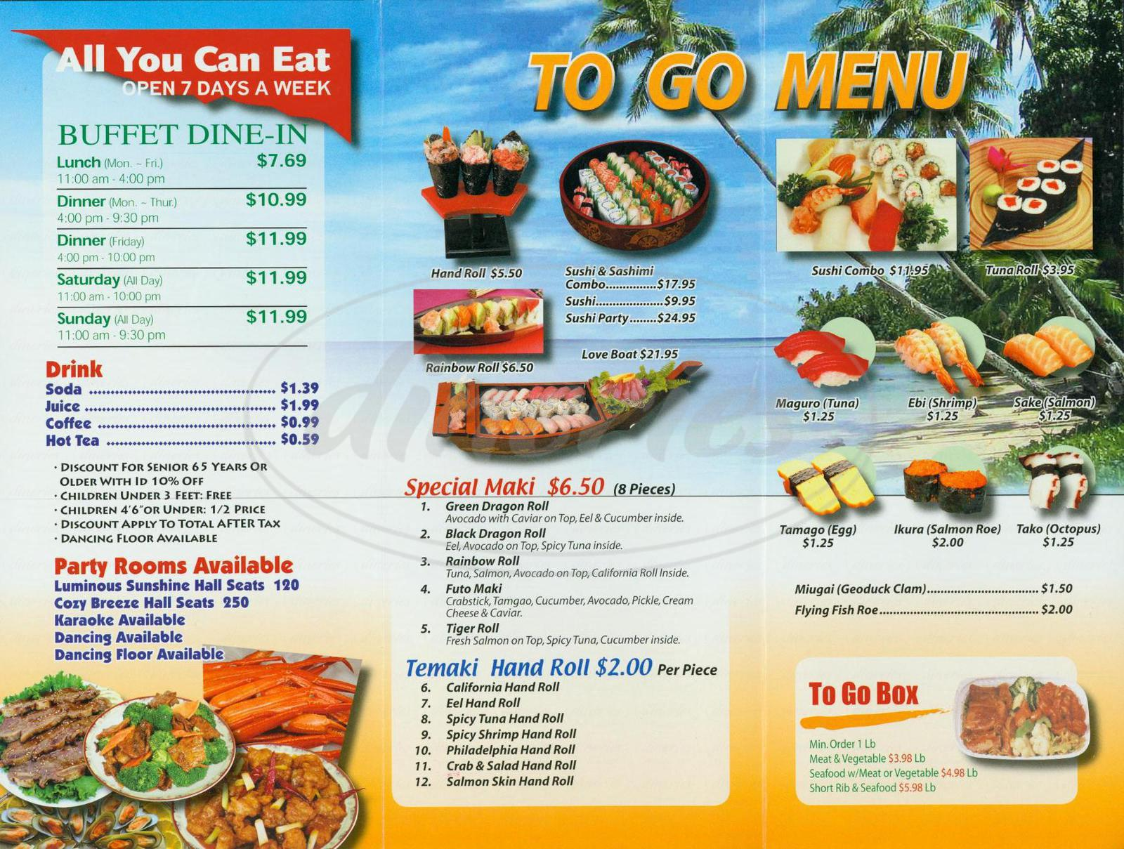 menu for Golden Coast Buffet