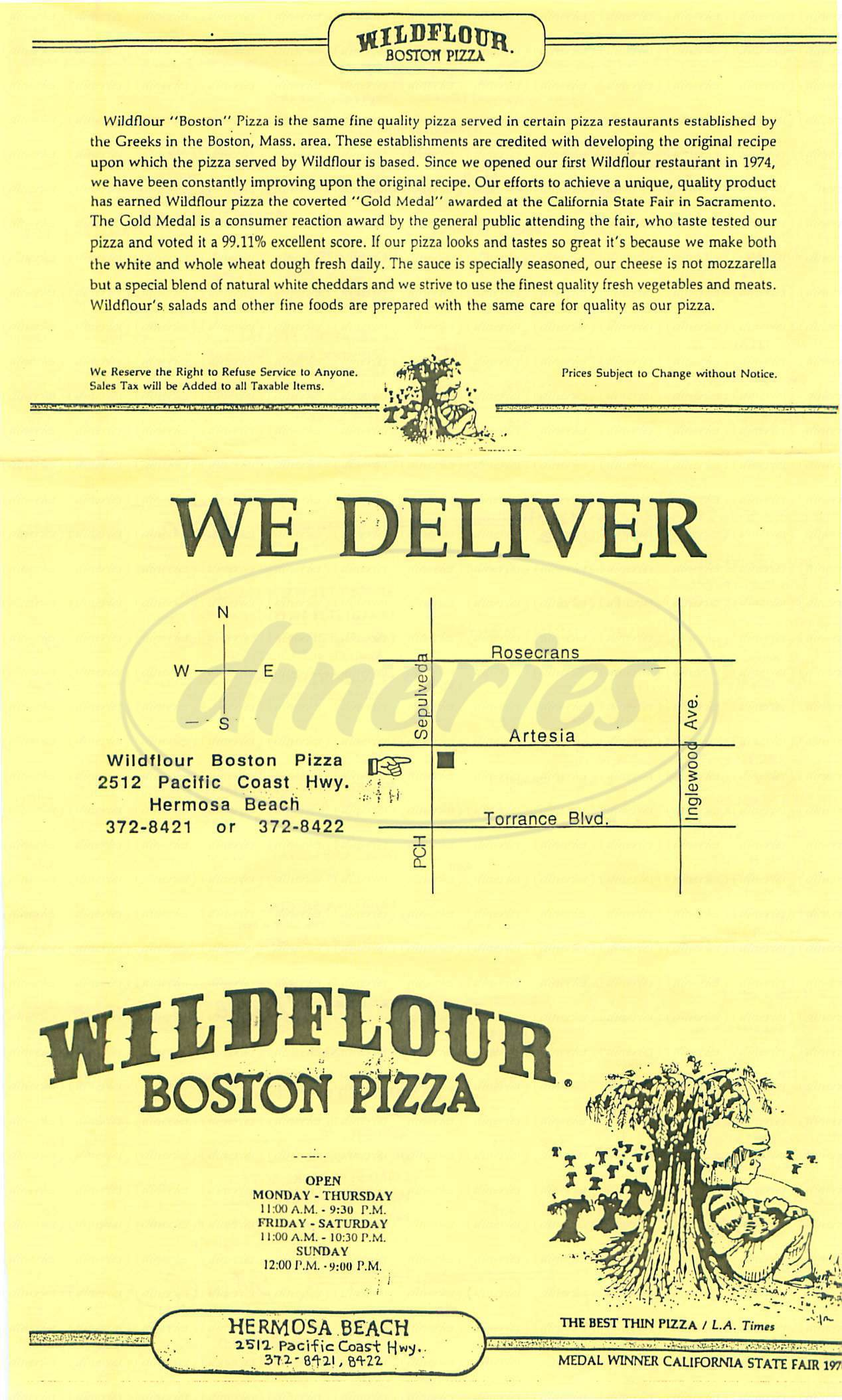 menu for Wildflour Boston Pizza