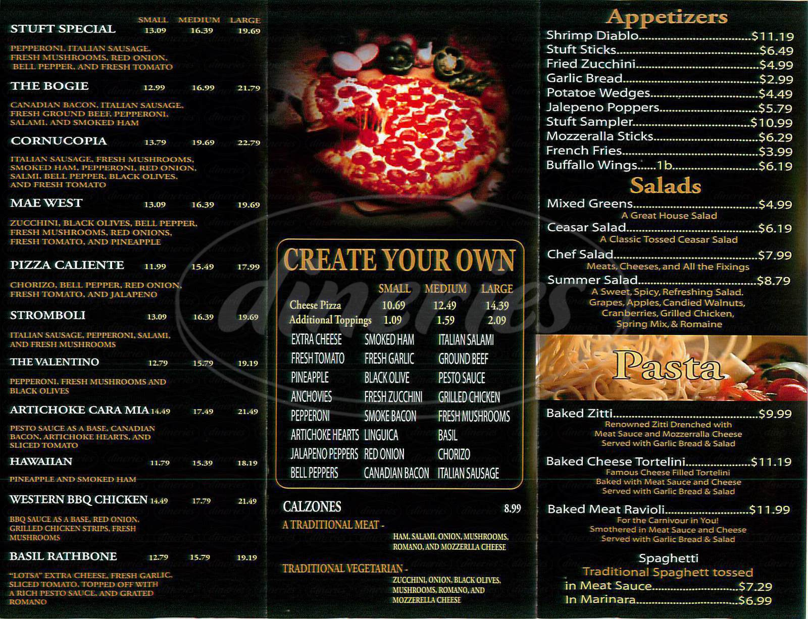 menu for Stuft Pizza