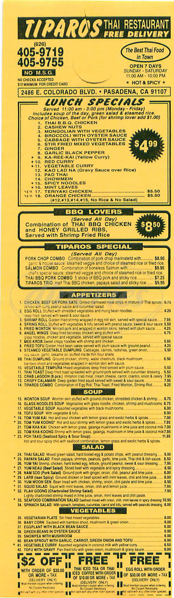 menu for Tiparos Thai Restaurant