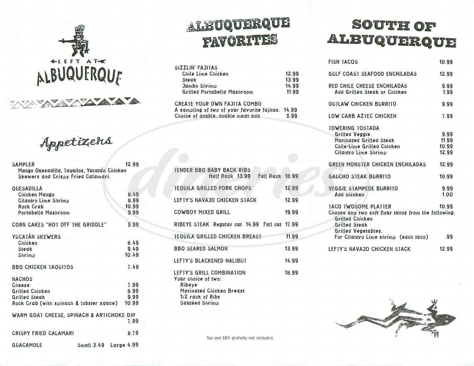 menu for Left At Albuquerque
