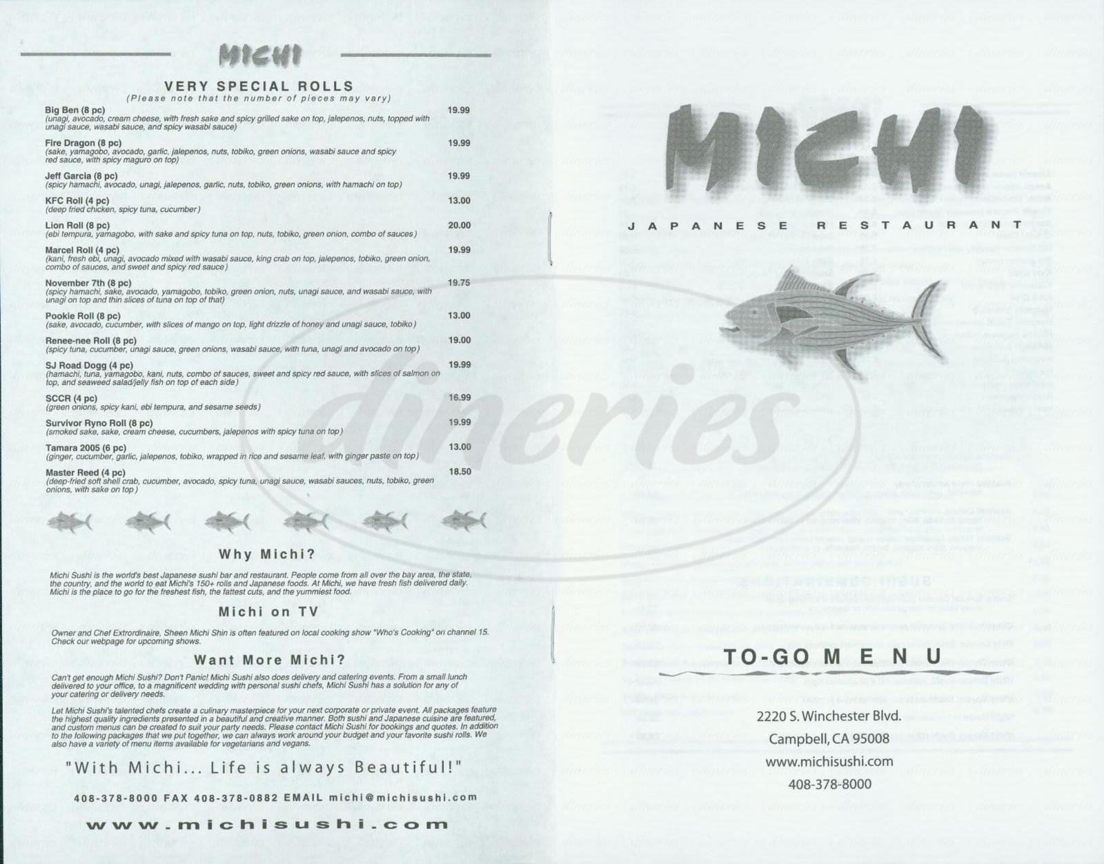 menu for Michi Japanese Restaurant