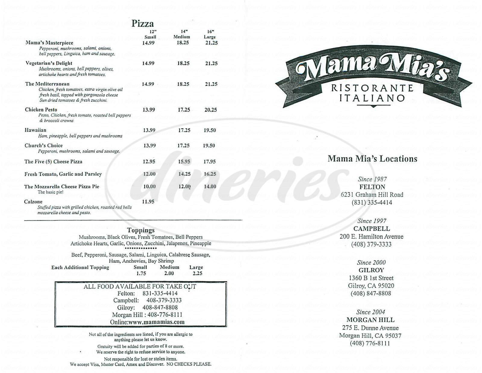 menu for Mama Mia's Ristorante