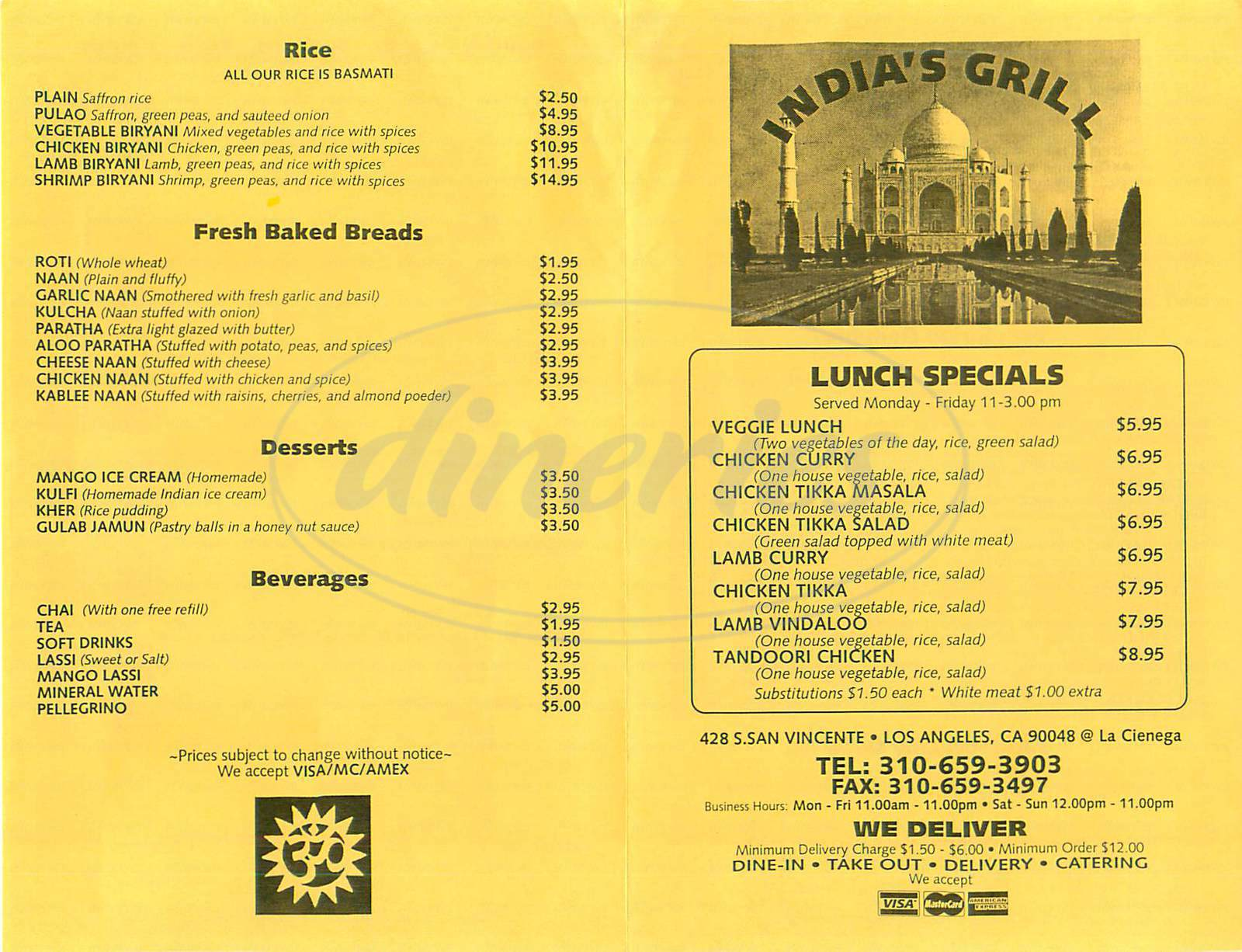 menu for India's Grill