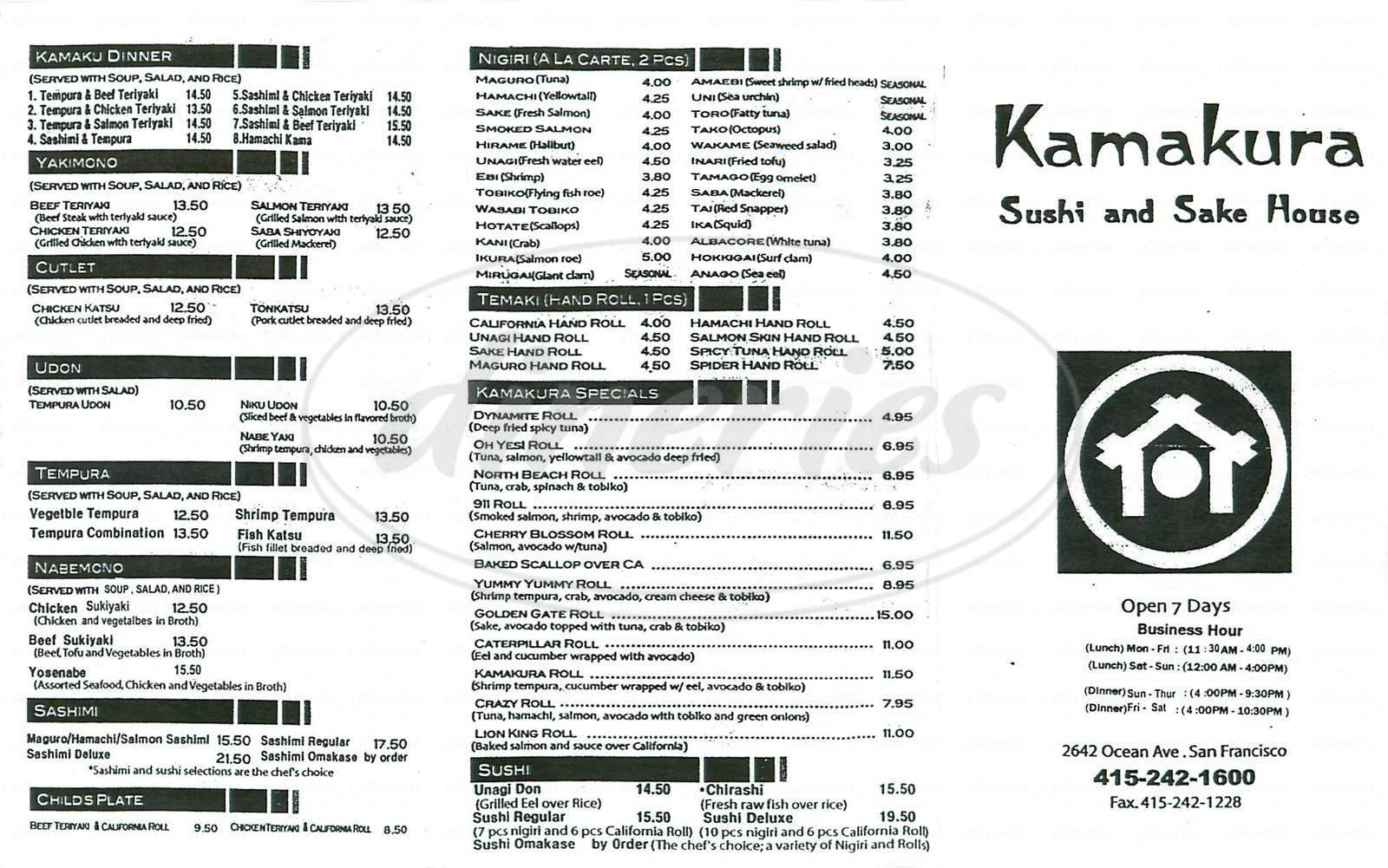 menu for Kamakura