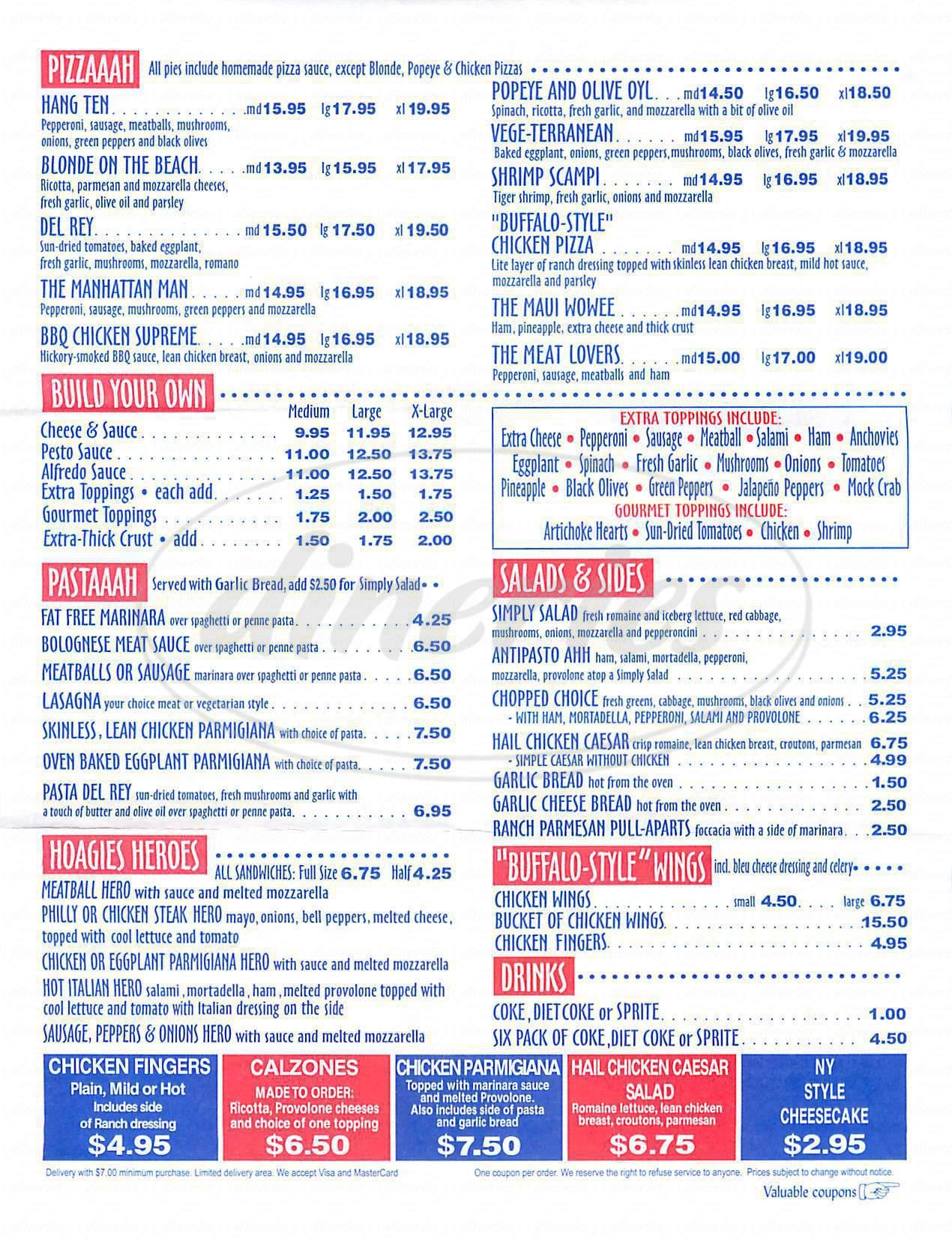 menu for Beach Pizza