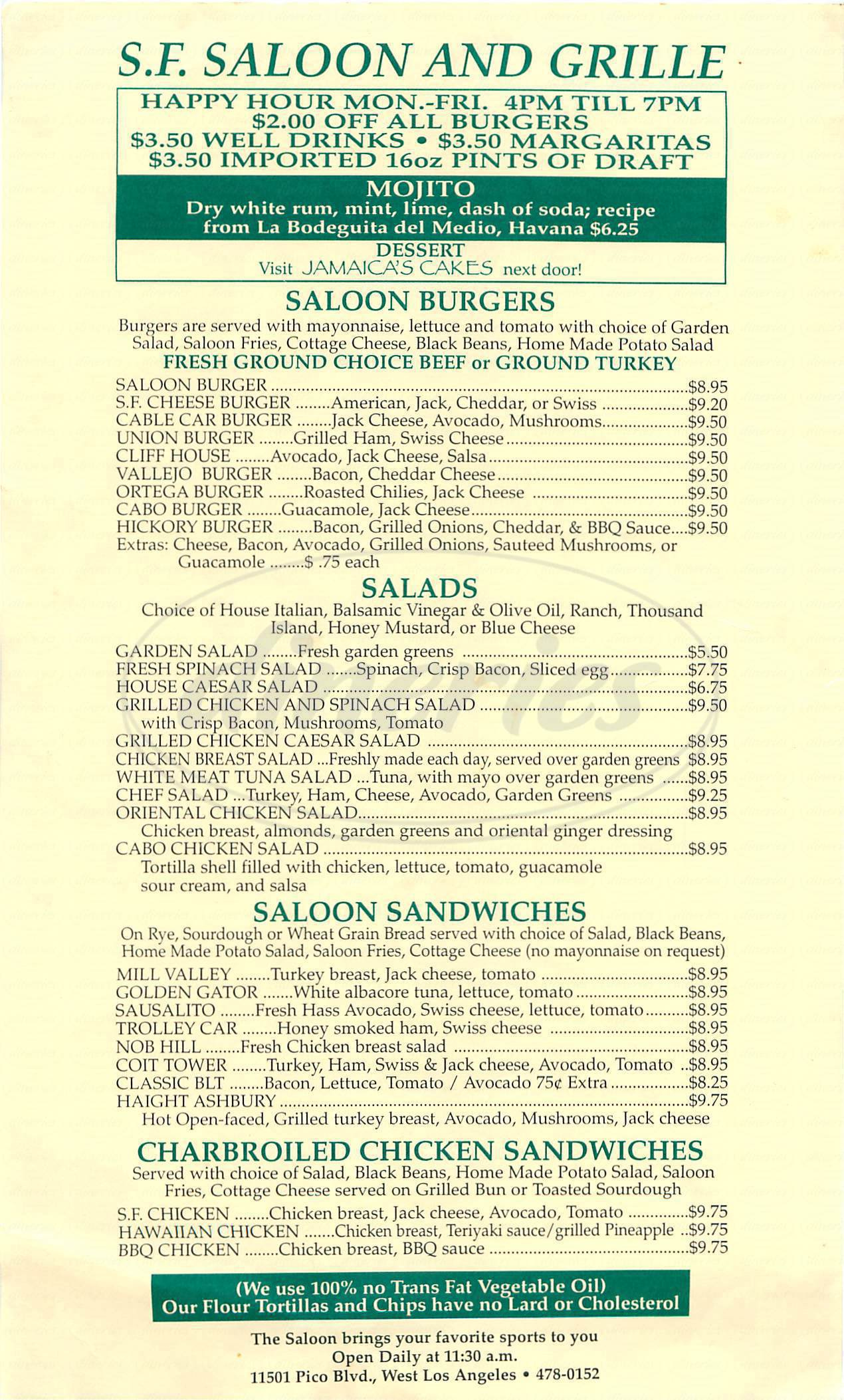 menu for SF Saloon and Grille