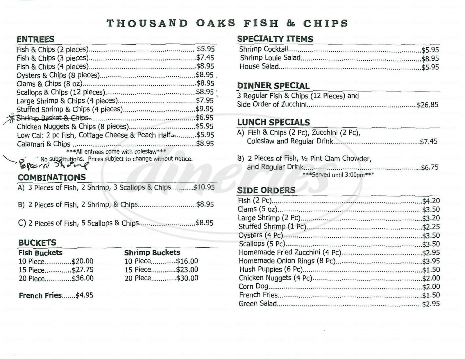 menu for Thousand Oaks Fish & Chips