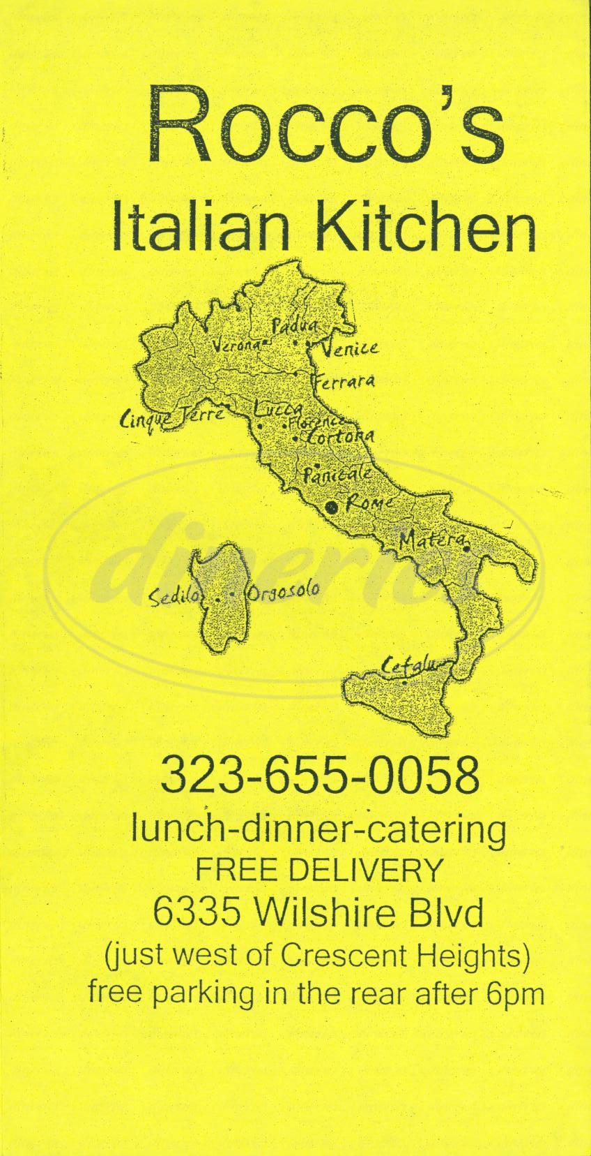menu for Roccos Italian Kitchen