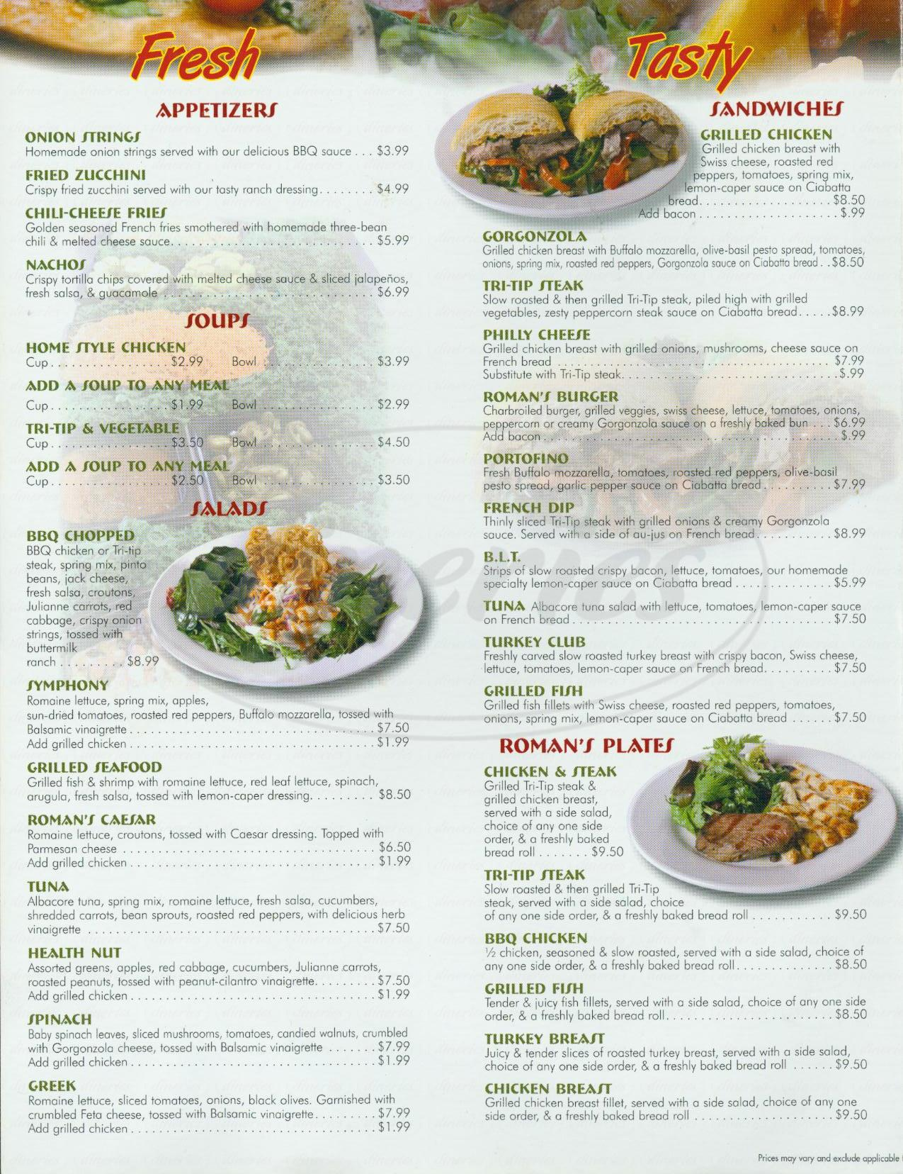 menu for Romans Restaurant