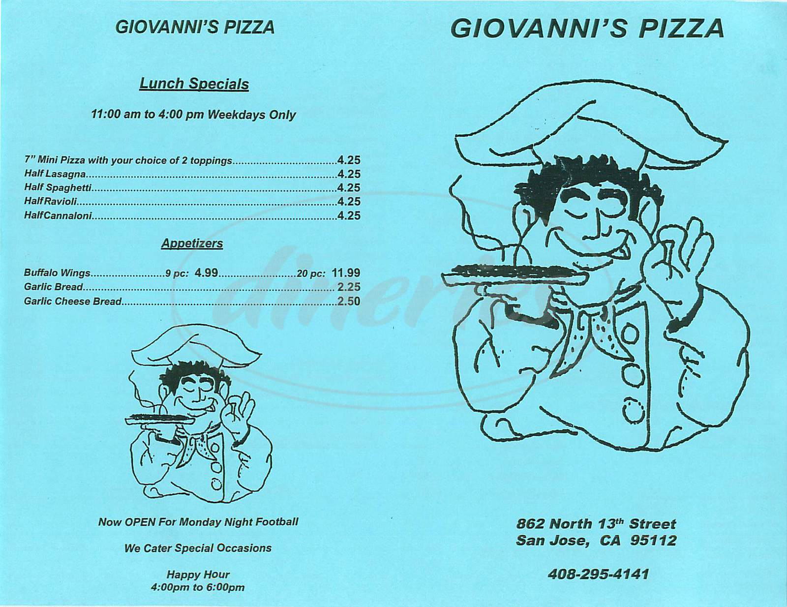 menu for Gionavnnis Pizza