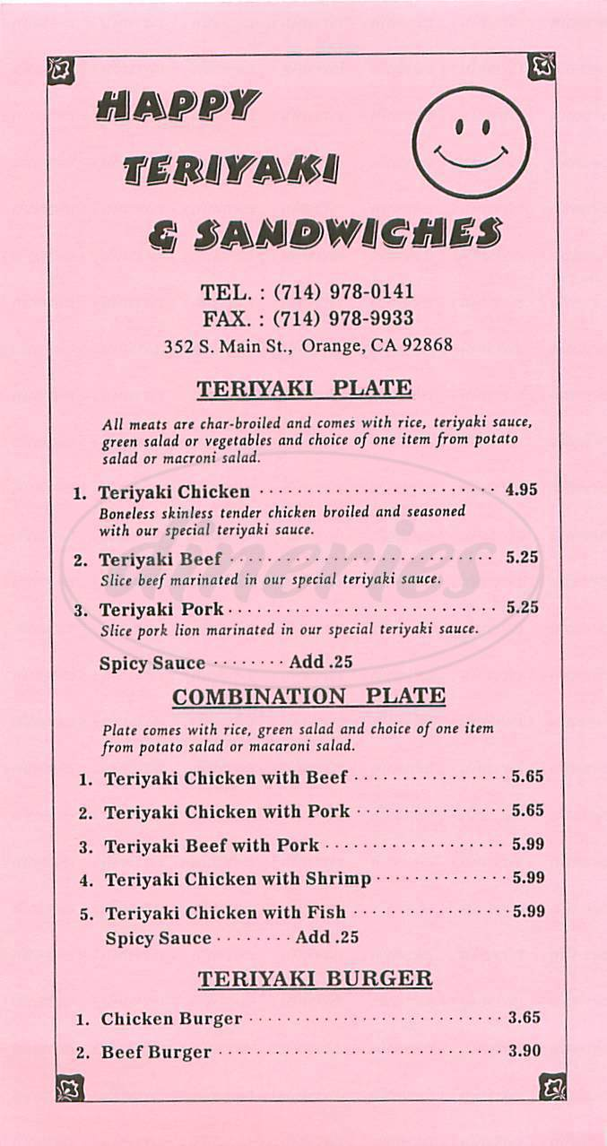 menu for Happy Teriyaki & Sandwiches