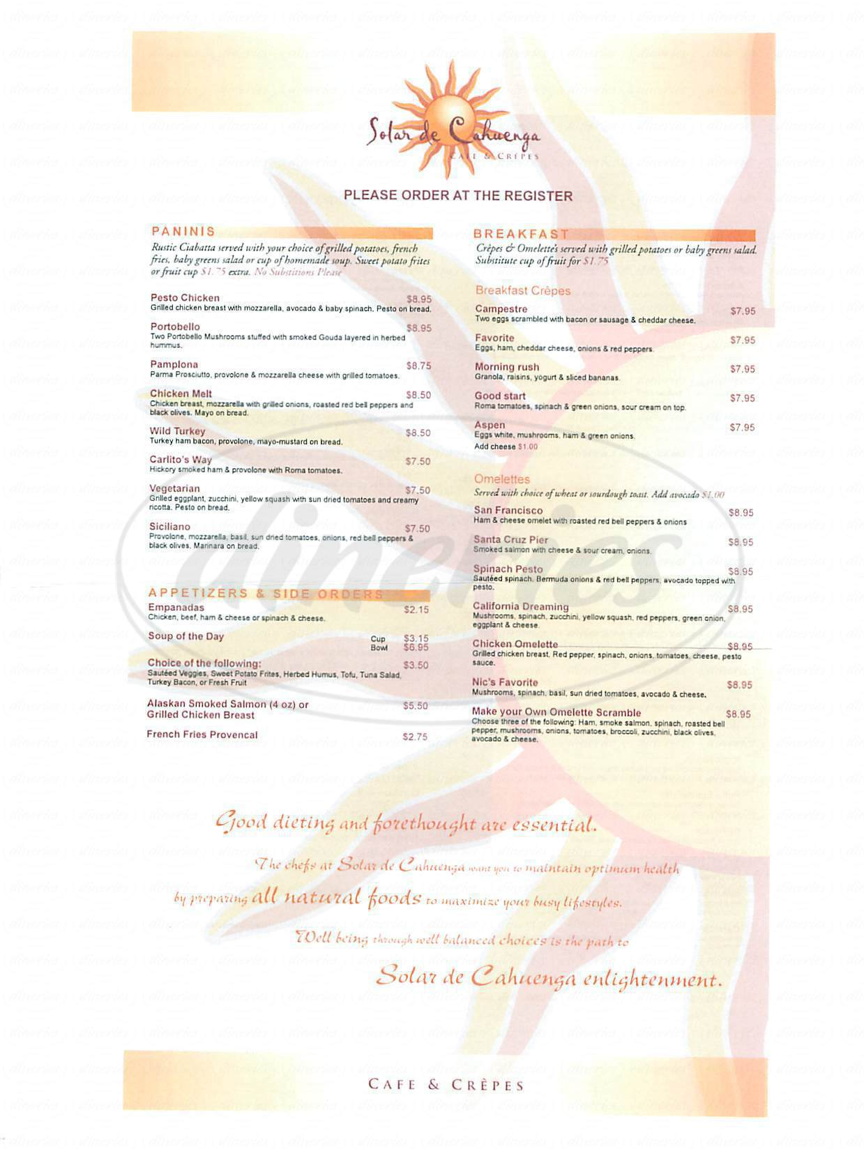 menu for Solar de Cahuenga
