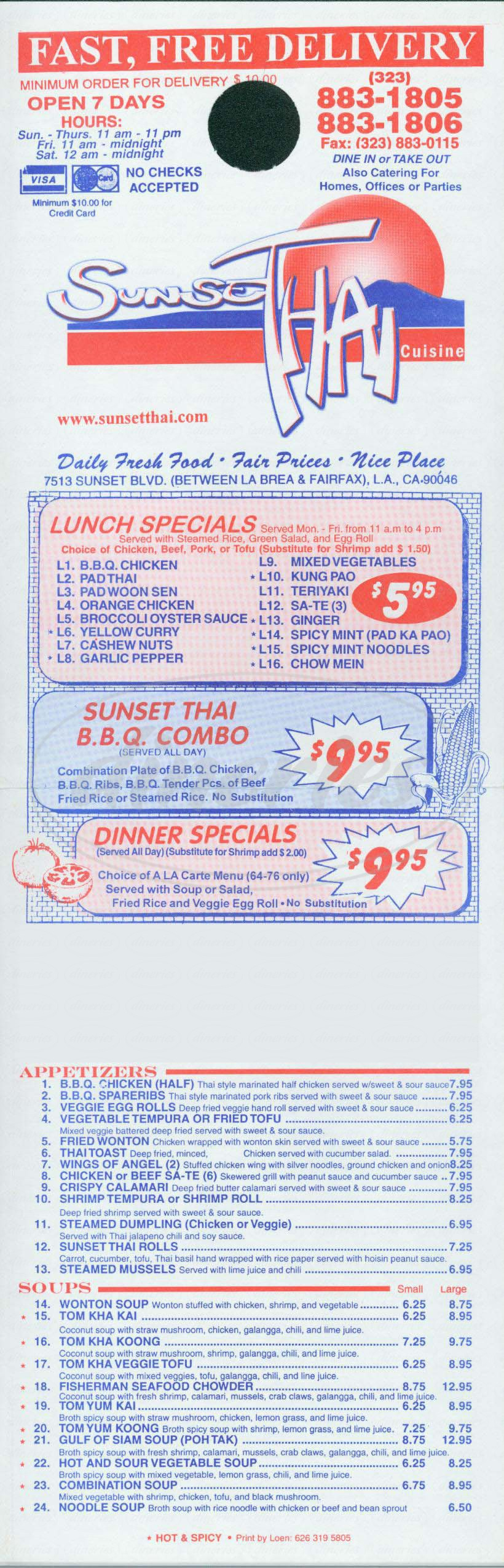 menu for Sunset Thai Cuisine