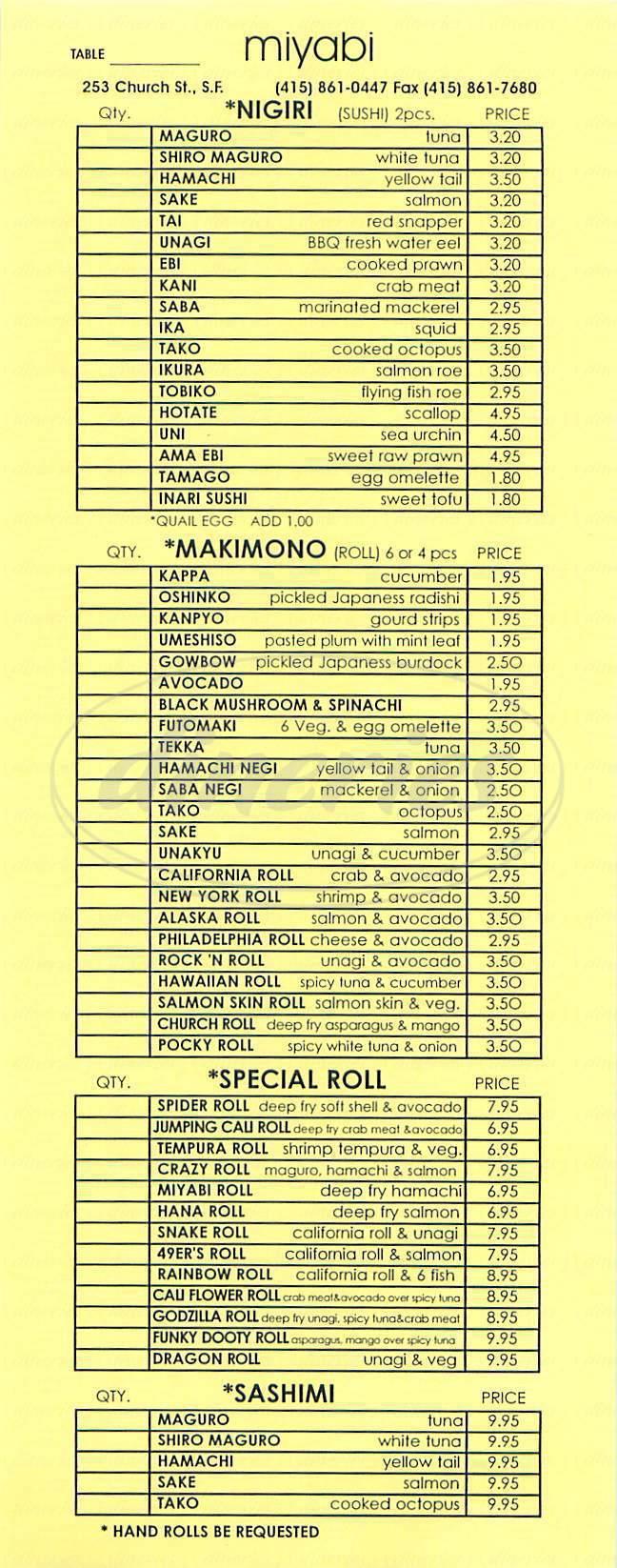 menu for Miyabi Japanese Restaurant