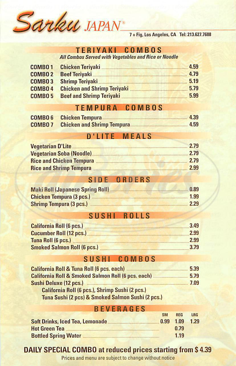 menu for Sarku Japan