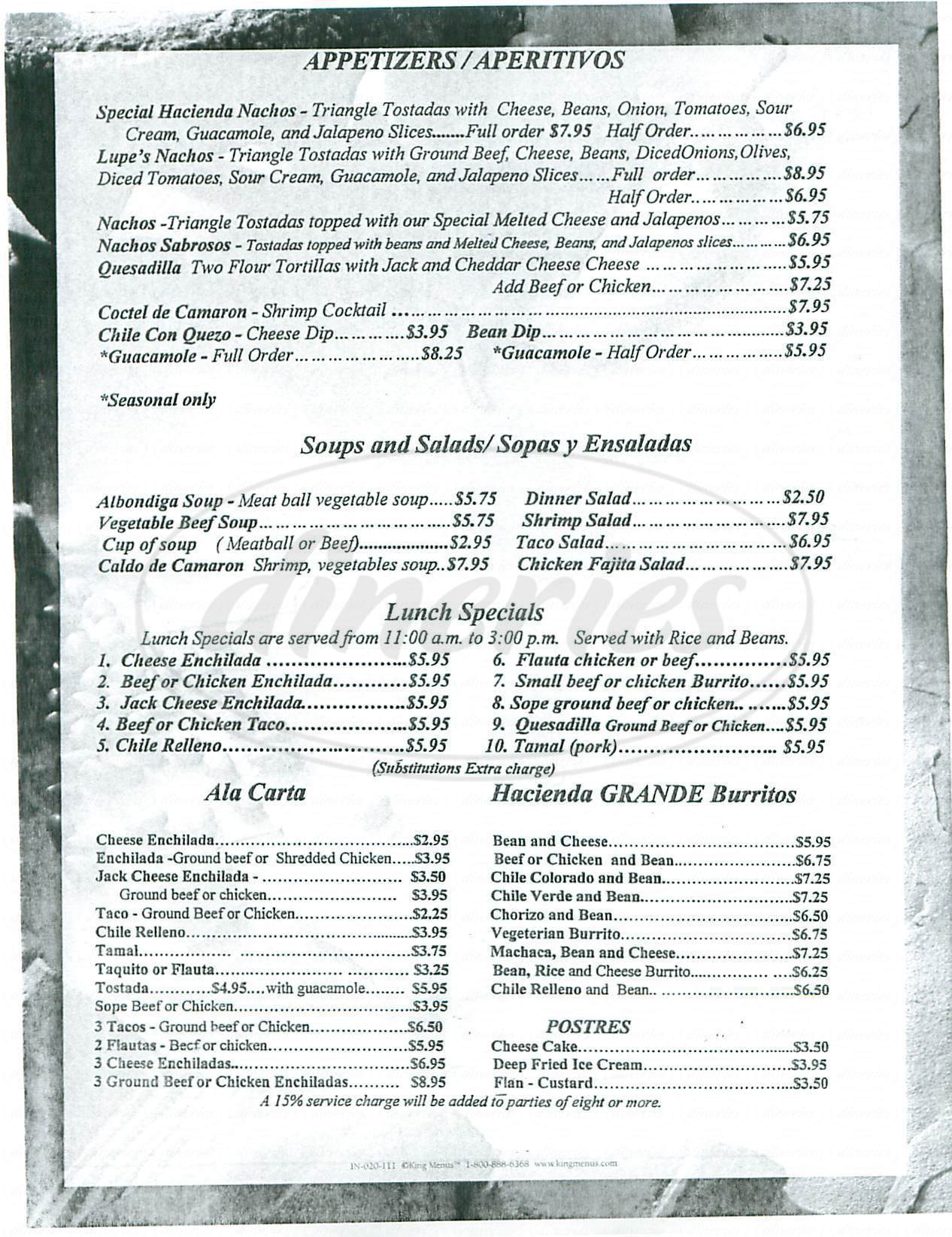 menu for La Hacienda de Los Velardes