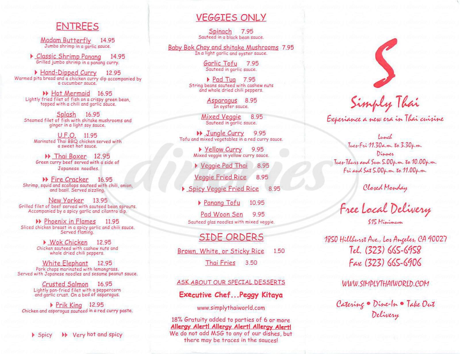 menu for Simply Thai Restaurant