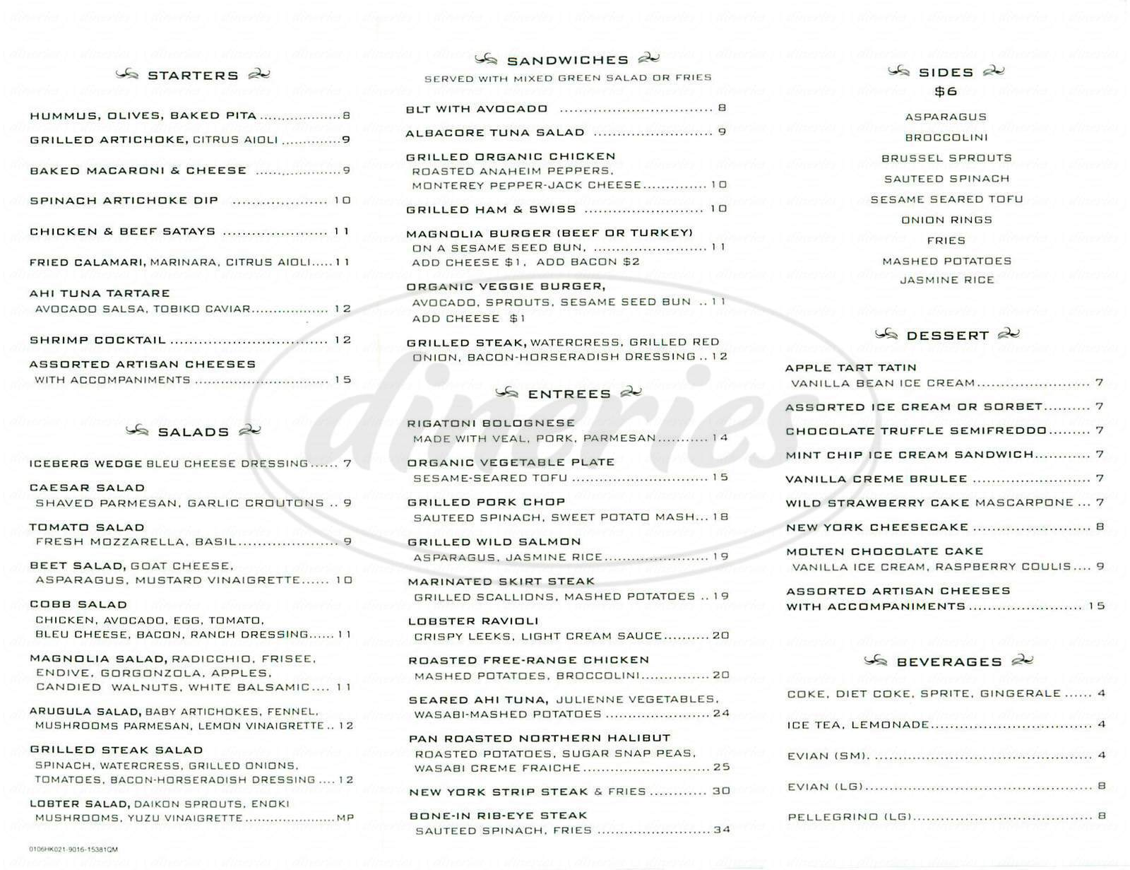 menu for Magnolia