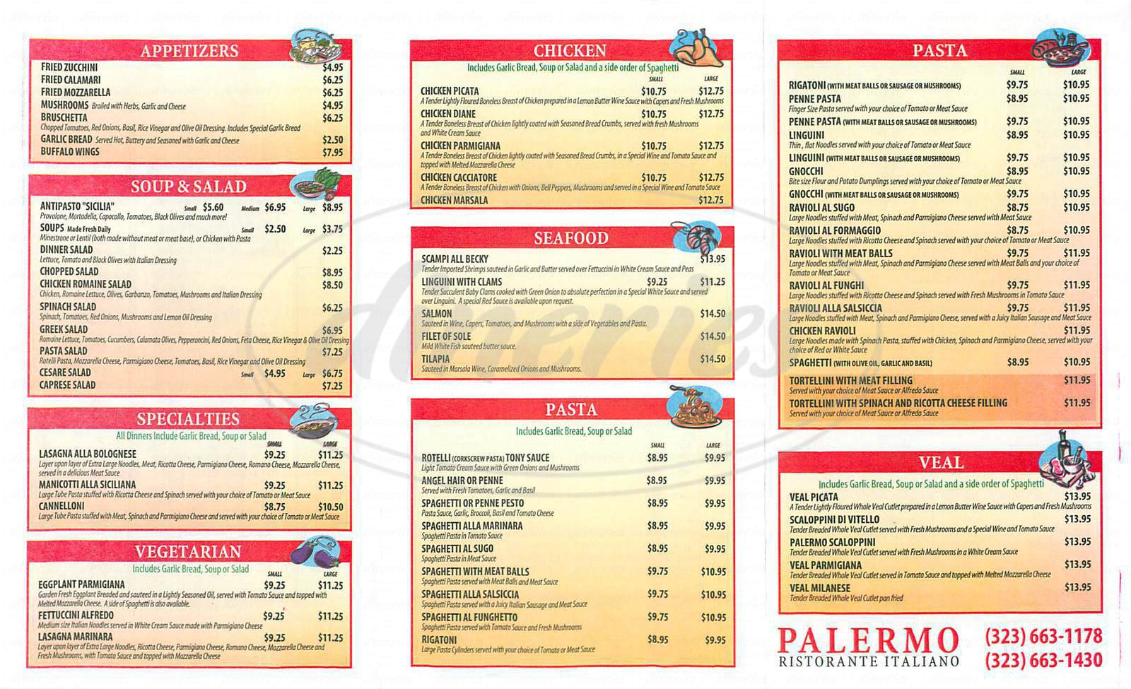 menu for Palermo Italian Restaurant
