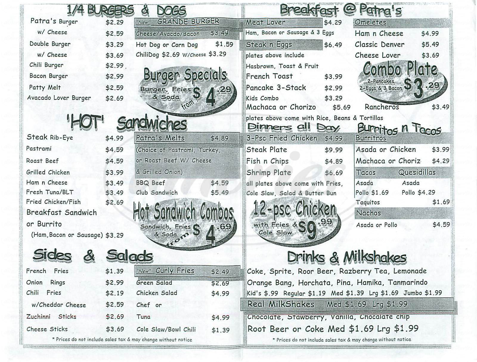 menu for Patra's Burgers