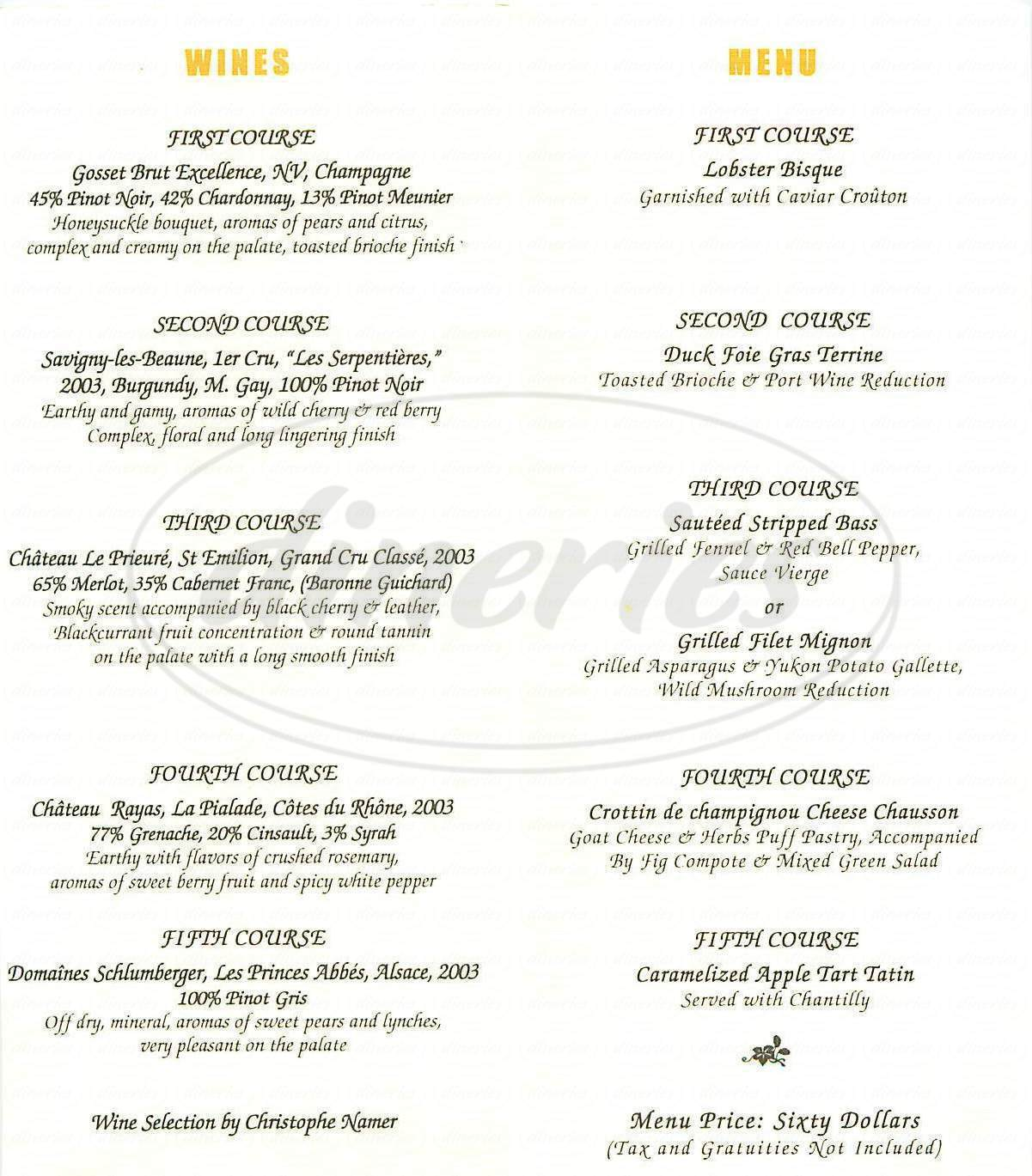 menu for Pastis Restaurant