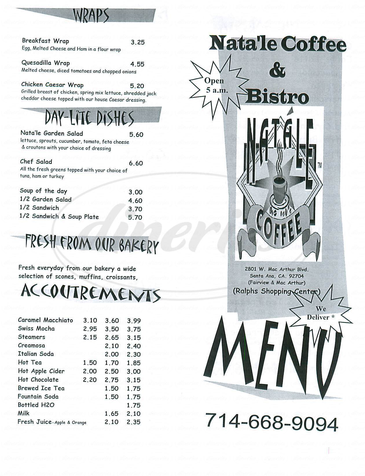 menu for Natale Coffee