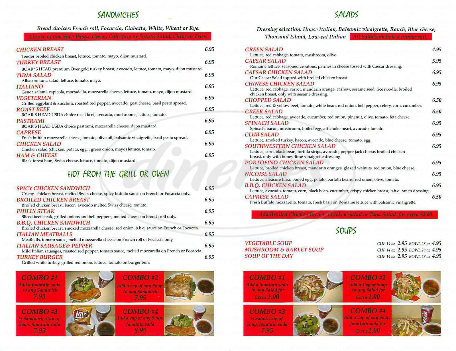 menu for Panino