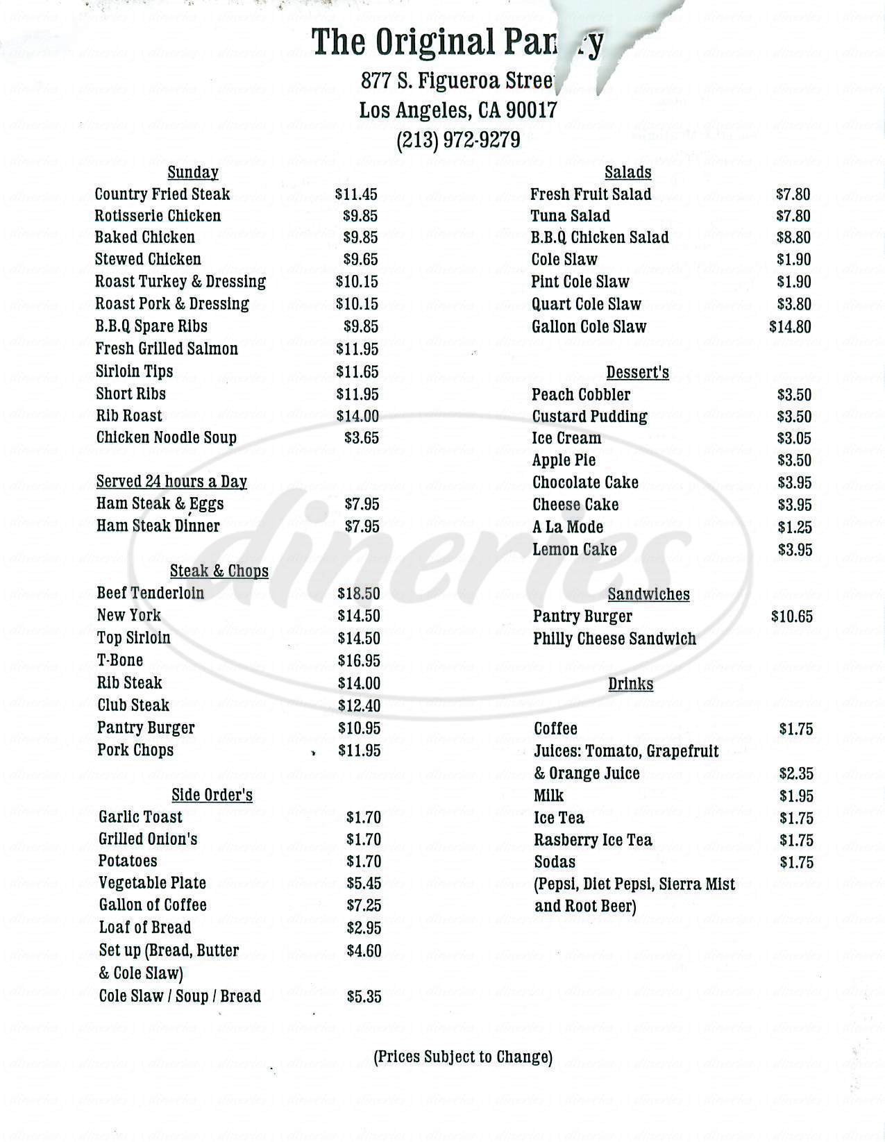 menu for The Original Pantry Cafe